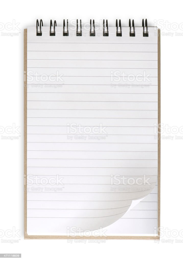 Medium blank notepad w/ spiral on top & opening to next page stock photo