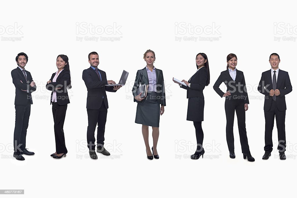 Medium group of business people in a row stock photo