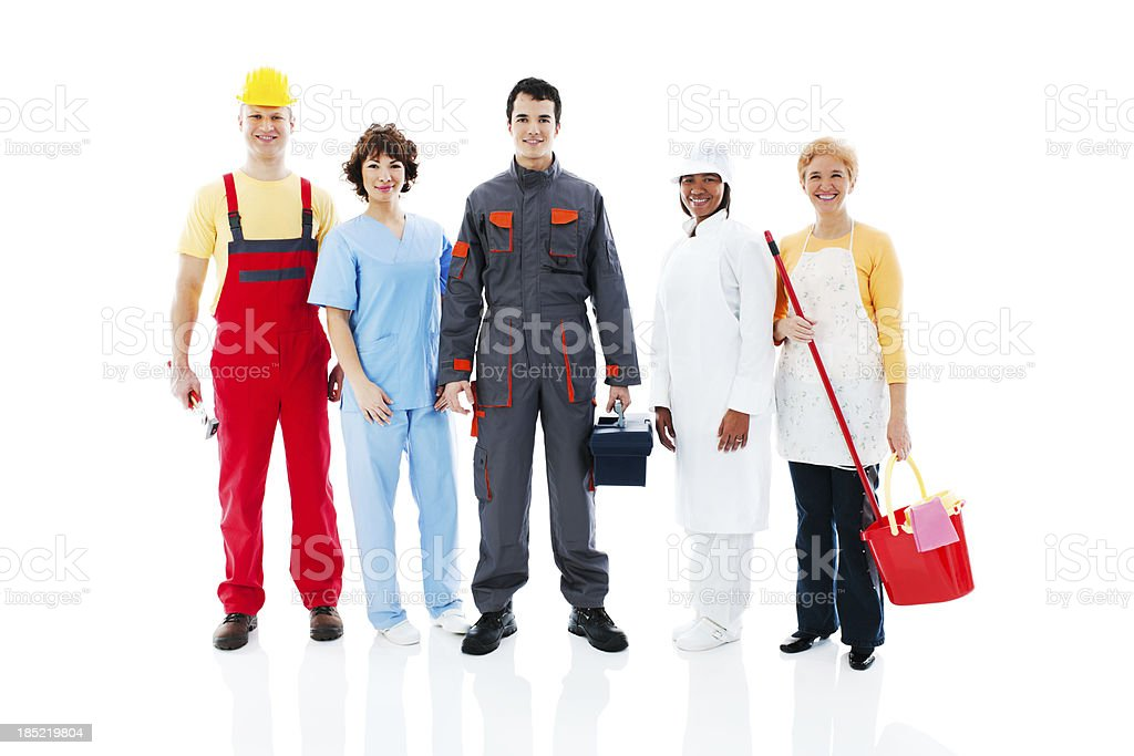Medium Group of diversity occupations people. stock photo