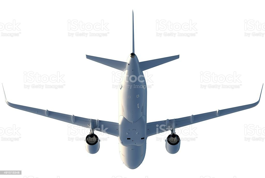 Medium Passenger Jet (A320) with large engines from below stock photo