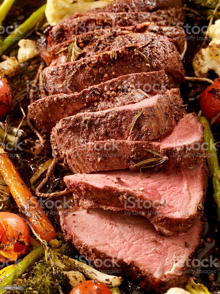 Medium Rare Roast Beef stock photo