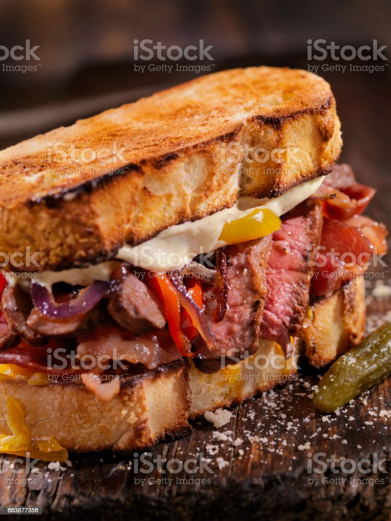 Medium Rare Steak Sandwich stock photo