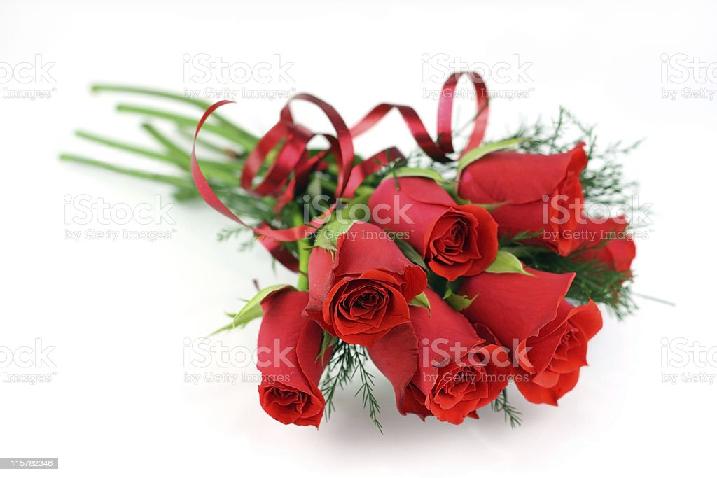 Medium red rose bouquet on white shallow dof. royalty-free stock photo