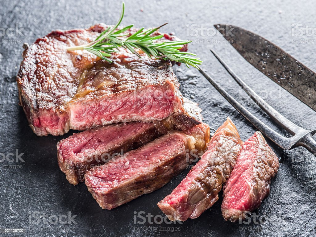 Medium Ribeye steak. stock photo