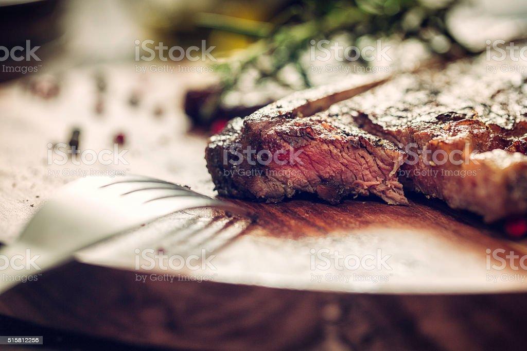 Medium Roasted T-Bone Steak stock photo