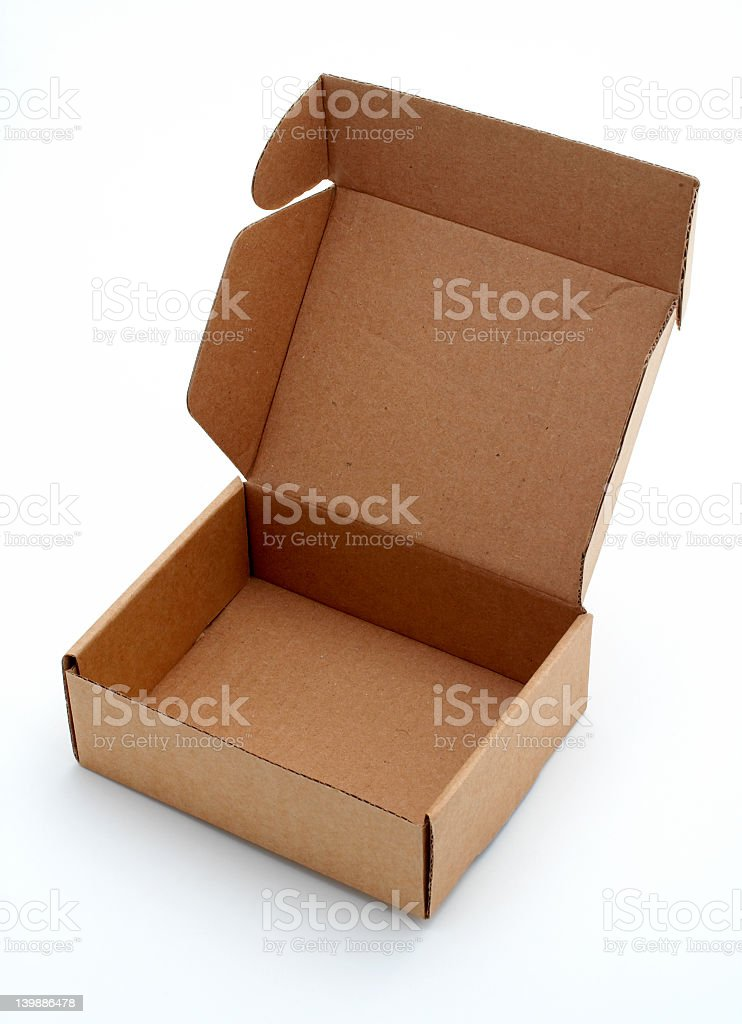 Medium sized cardboard box, with lid open royalty-free stock photo