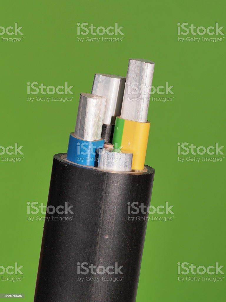 Medium voltage 1kV Aluminum sector cable stock photo