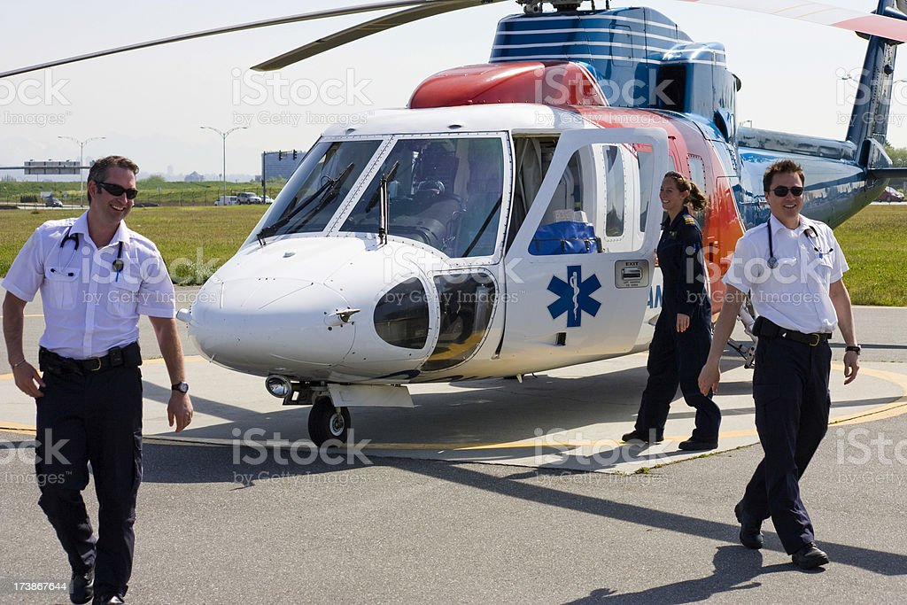 Medivac Helicopter and Crew stock photo