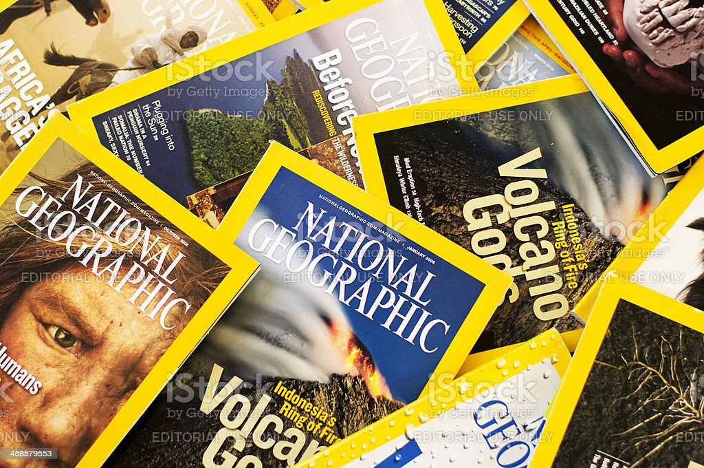 Medley of Nat Geo Magazines stock photo