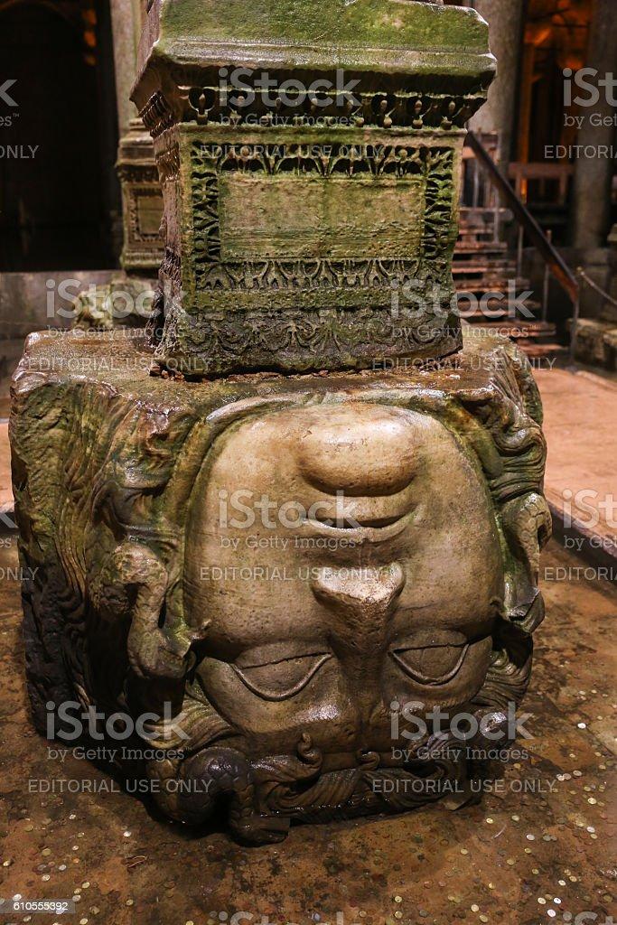 Medusa column base in Basilica Cistern, Istanbul City stock photo