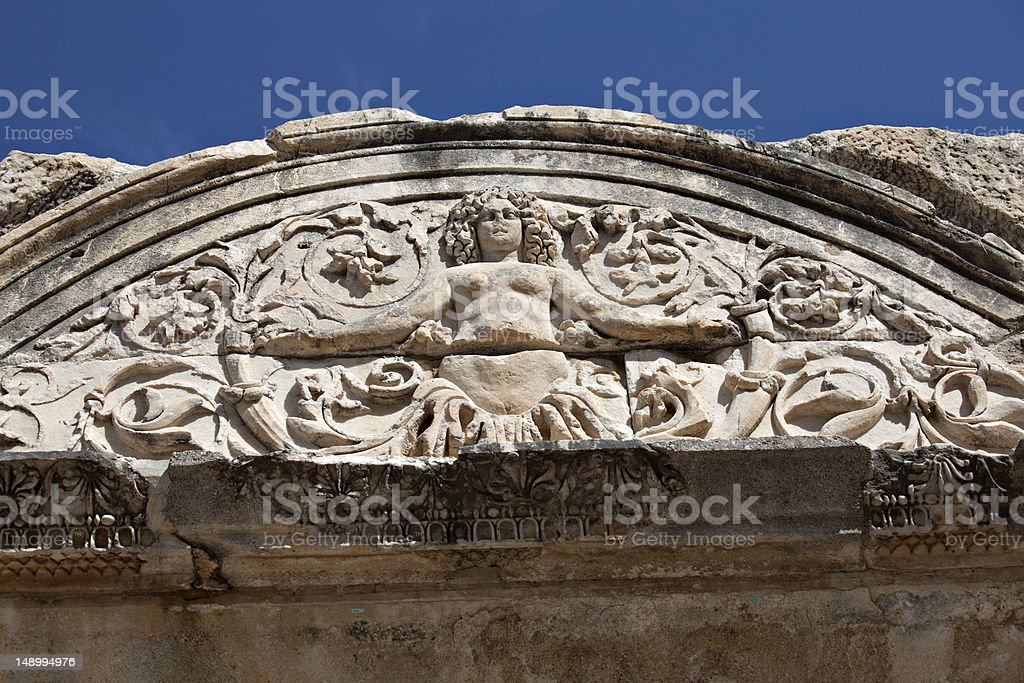 Medusa detail on Hadrian's Temple, Ephesus royalty-free stock photo