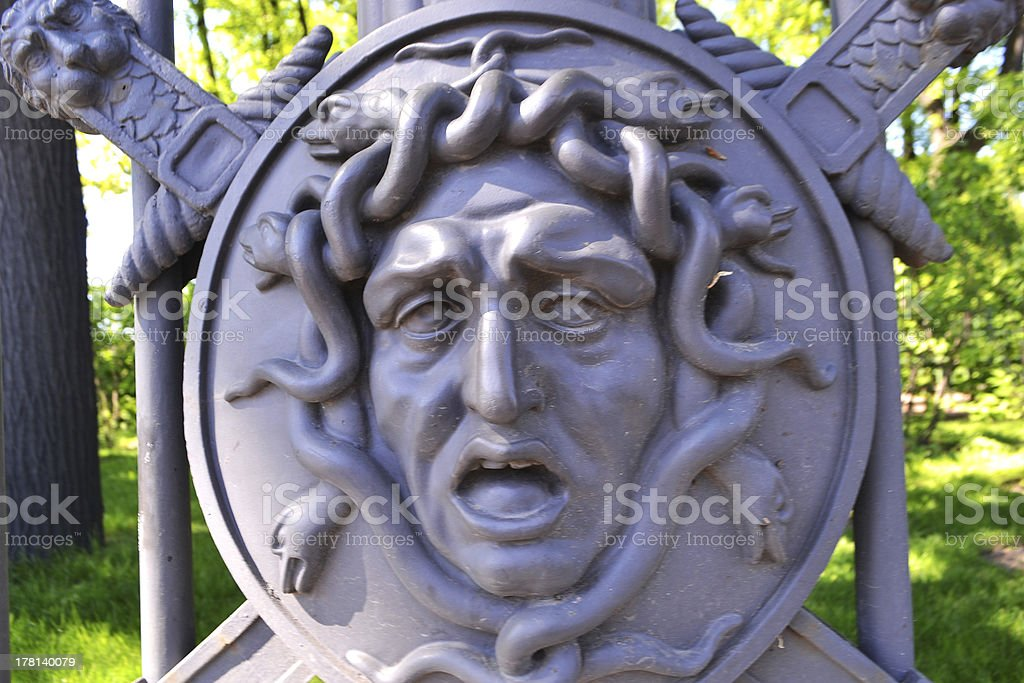 Medusa. Element fence of Summer Garden royalty-free stock photo