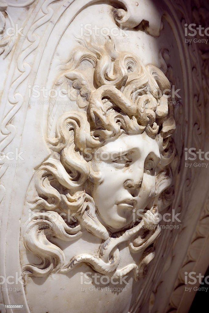 Medusa face over shield royalty-free stock photo