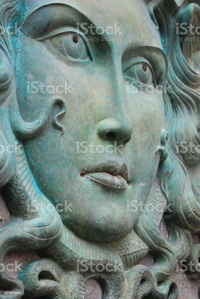 Medusa Fountain in Nemi, Italy stock photo