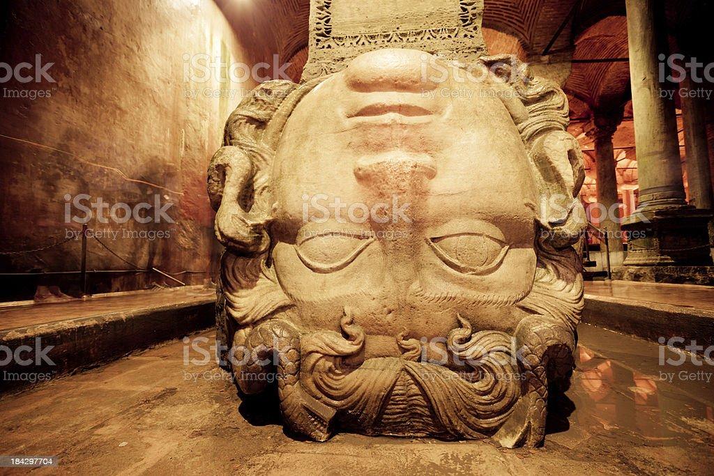 Medusa Head in the Basilica Cistern, Istanbul, Turkey stock photo