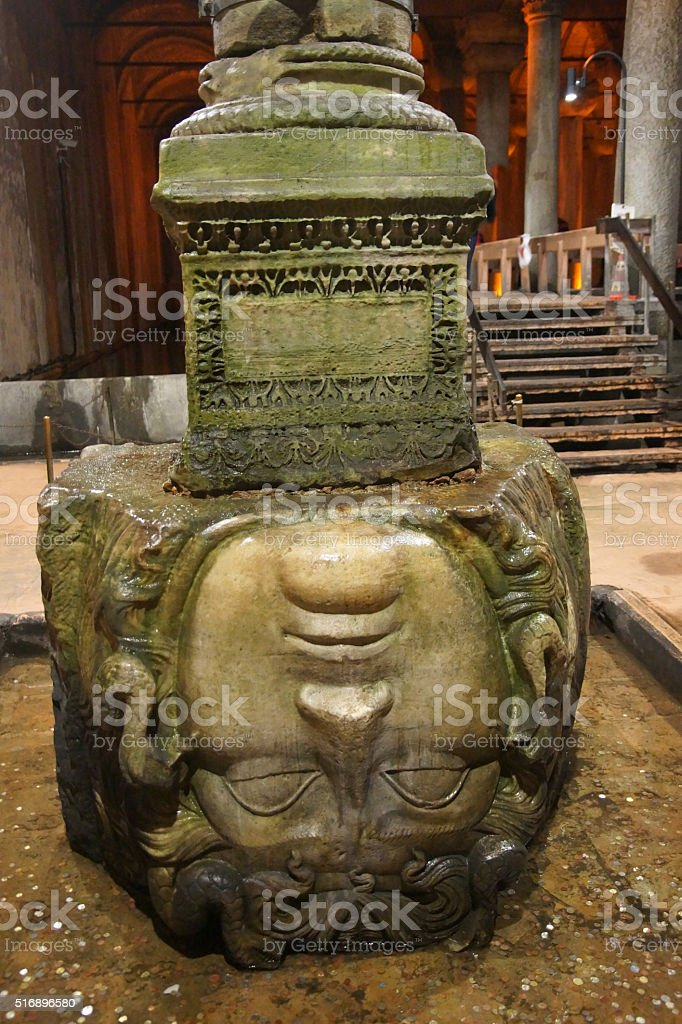 Medusa Head in the Basilica Cistern stock photo