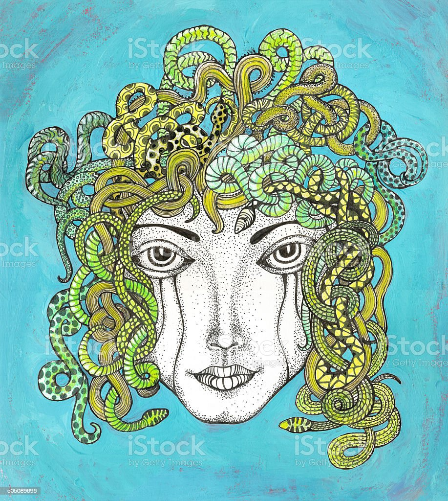 Medusa with hair of snakes stock photo
