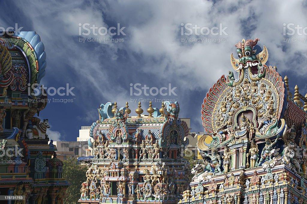Meenakshi hindu temple in Madurai, Tamil Nadu, South India. stock photo