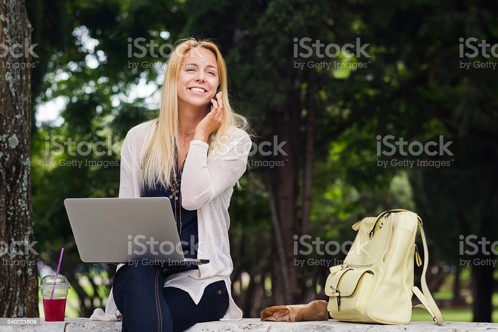 Meet me in the park for a study session stock photo