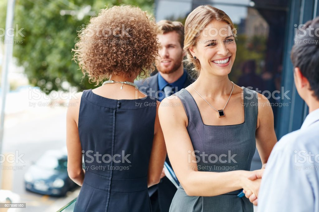 Meet people and make things happen stock photo