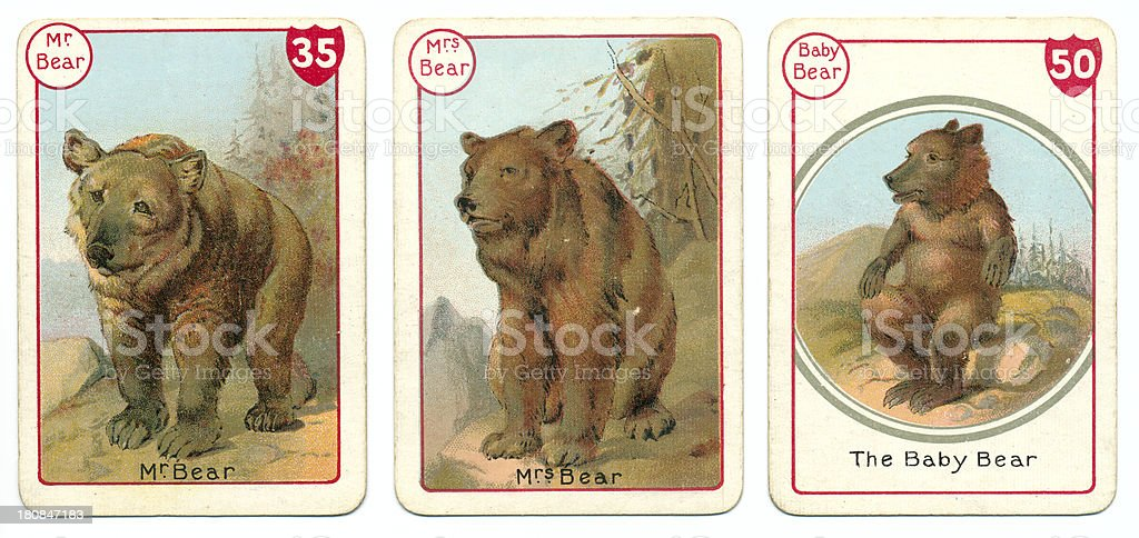 Three bear playing cards Victorian animal families game vector art illustration