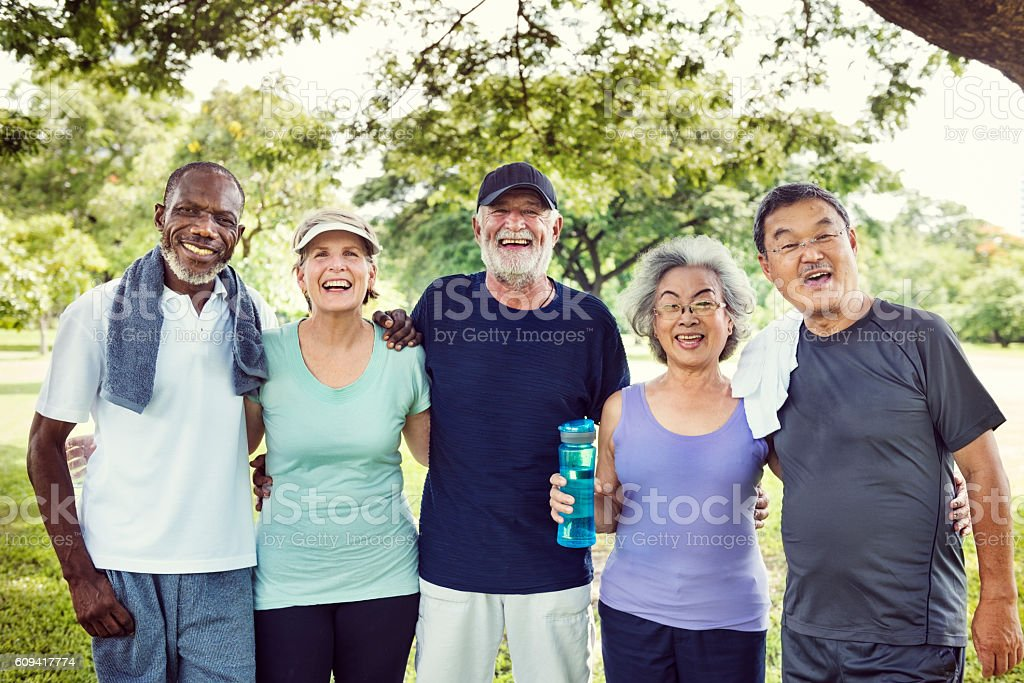 Meet Up Retired Wellbeing Pensioner Workout Concept stock photo