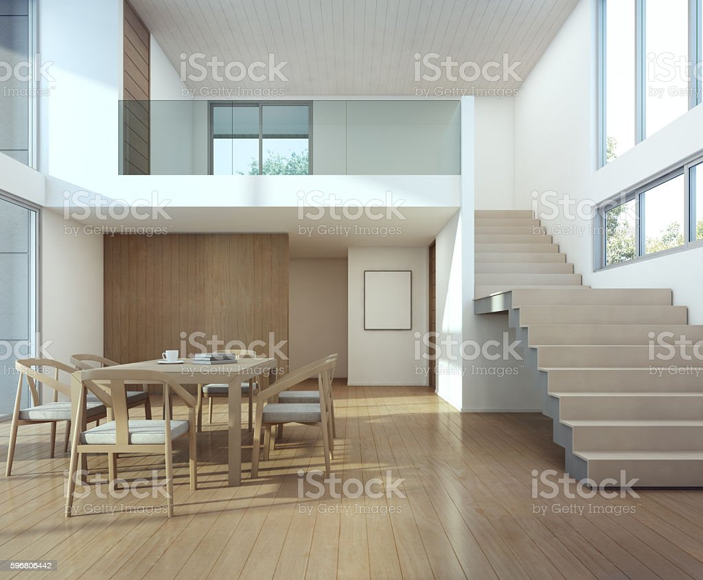 Meeting and dining room in modern house stock photo