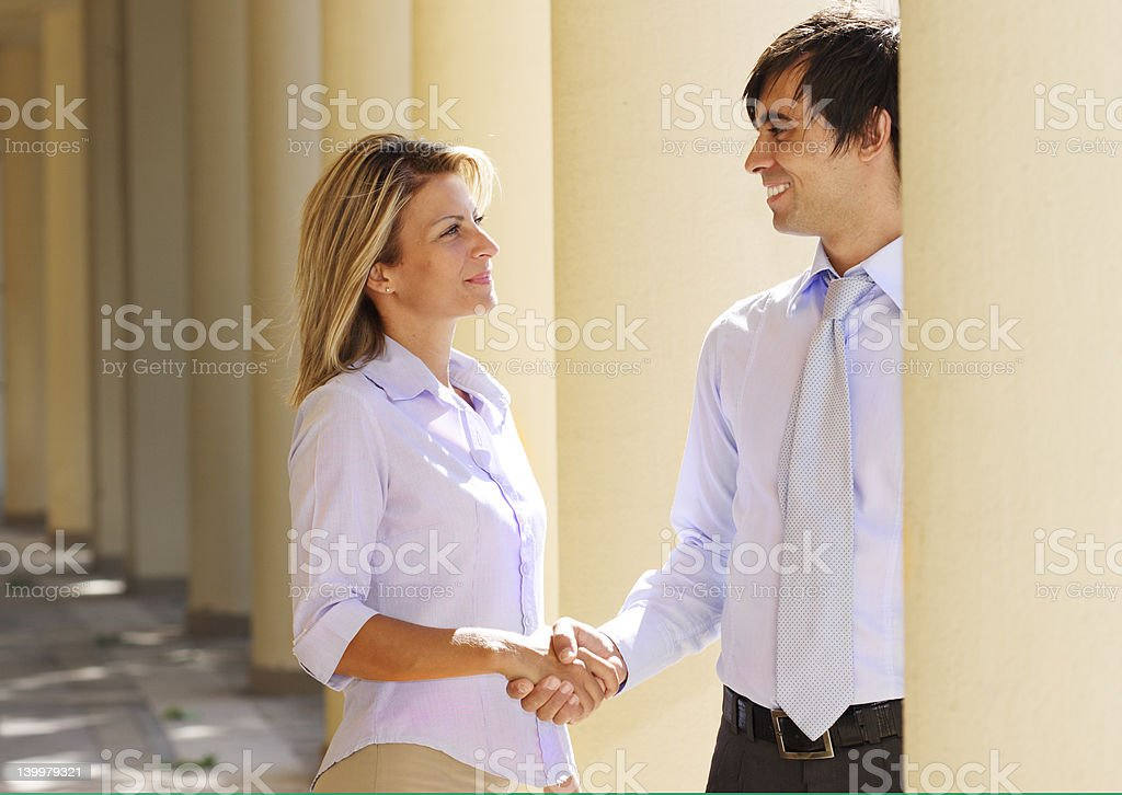 meeting and greeting royalty-free stock photo