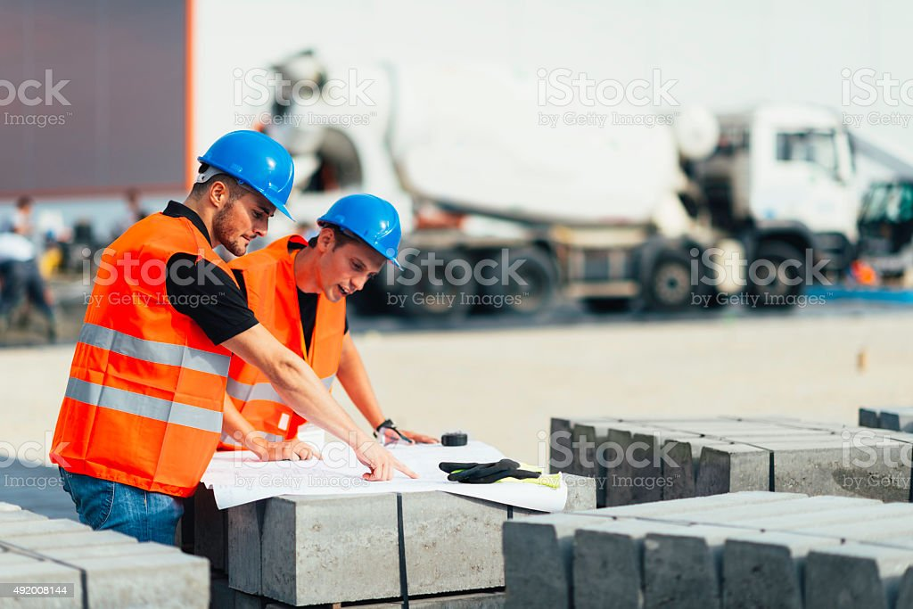 Meeting at the construction site stock photo