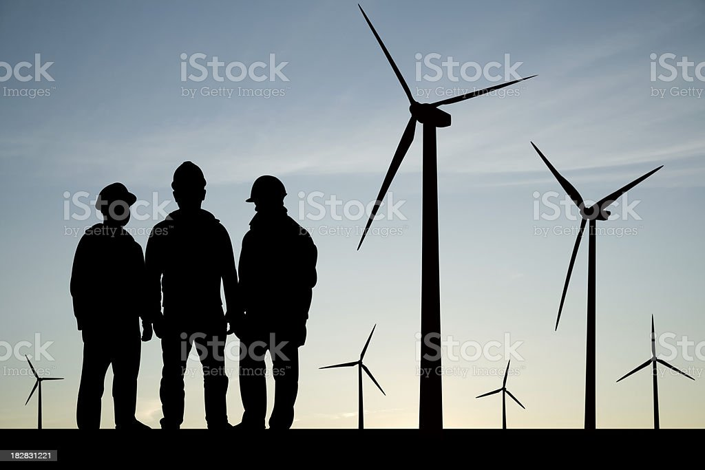 Meeting at Wind Turbines stock photo
