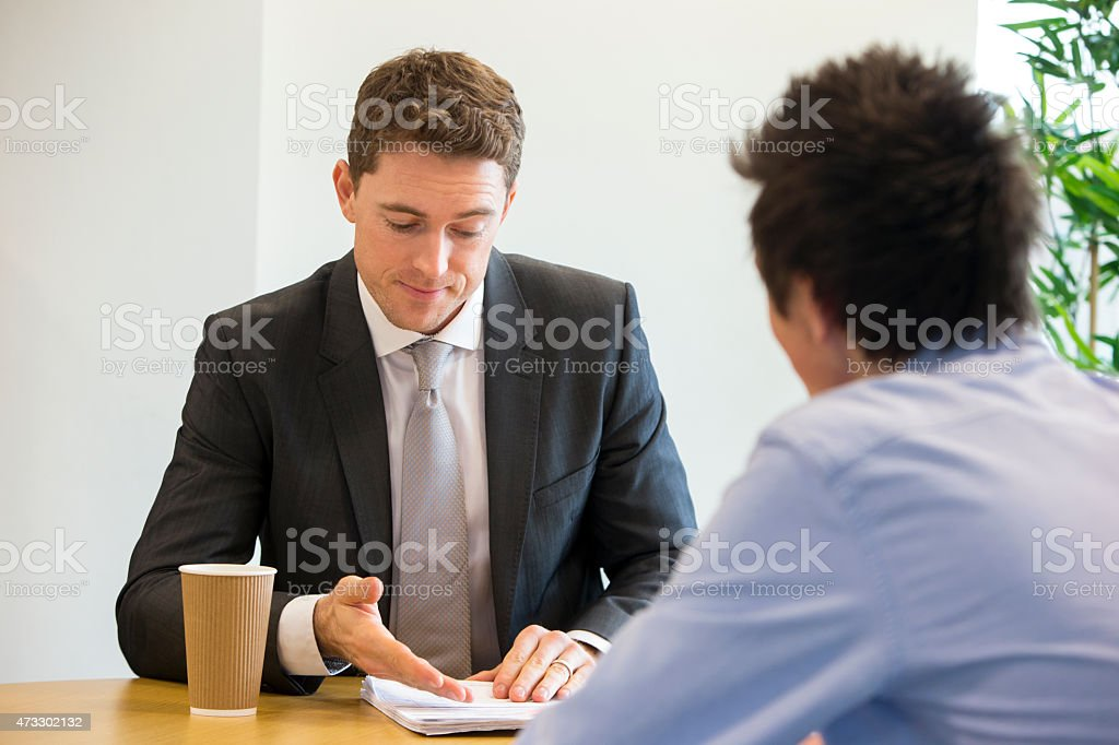 Meeting Between Student and Teacher stock photo