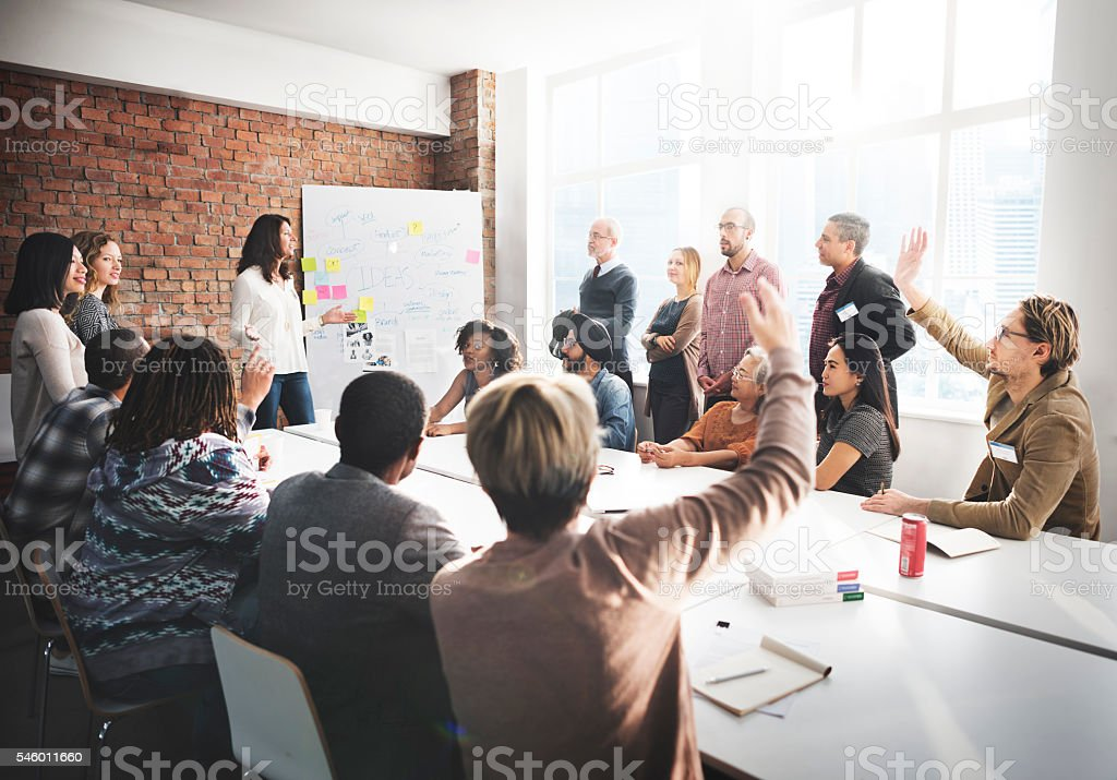 Meeting Discussion Talking Sharing Ideas Concept stock photo