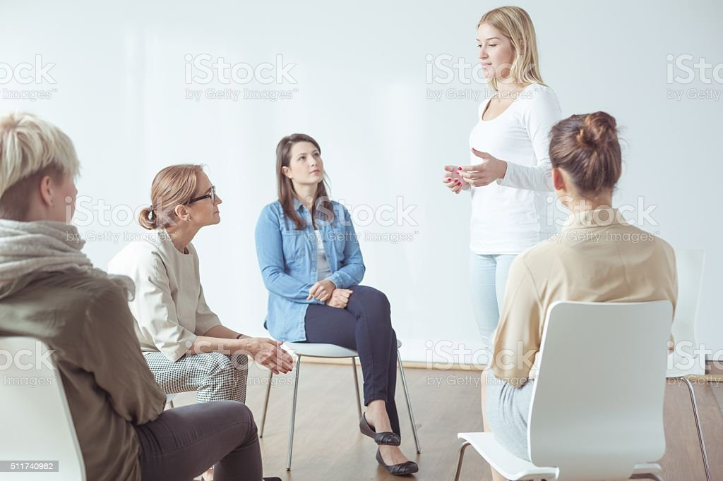 Meeting for modern active women stock photo