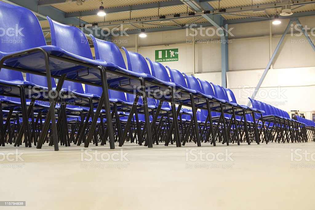 Meeting Hall with Blue Chairs, Unusual Point of View stock photo