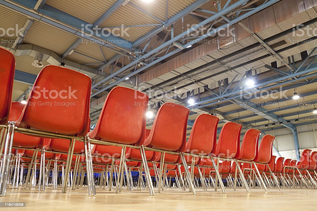 Meeting Hall with Red Chairs, Unusual Point of View stock photo