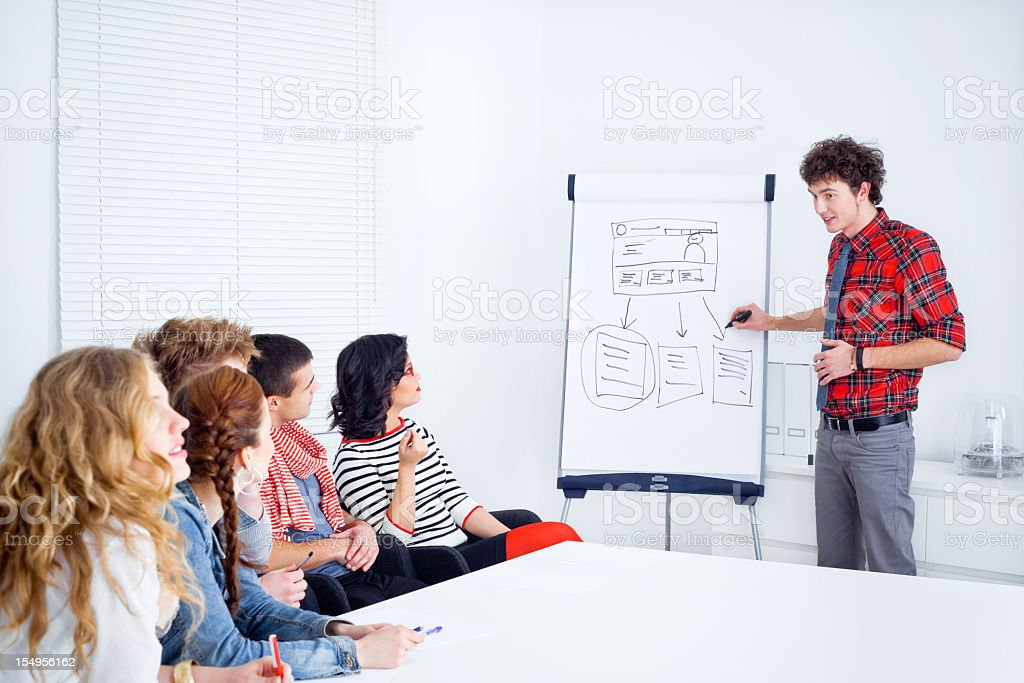 Meeting in a boardroom royalty-free stock photo