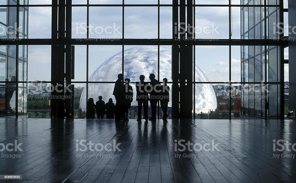 Meeting in a large atrium in Paris royalty-free stock photo