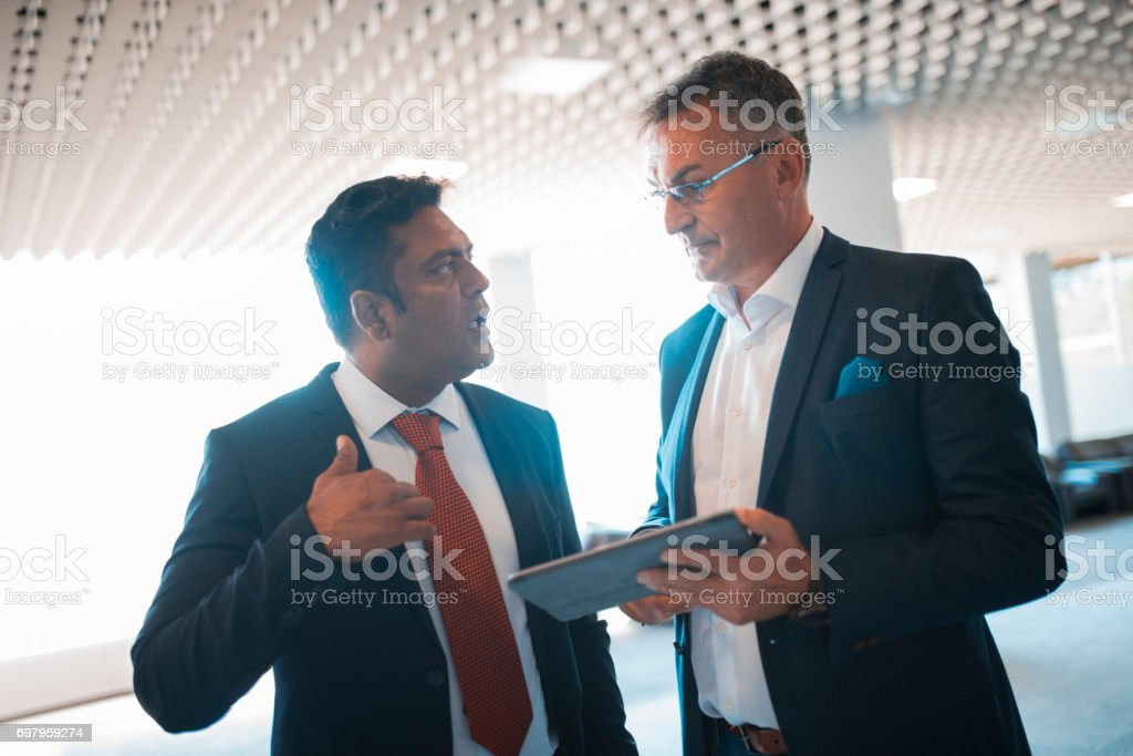Meeting in a lobby stock photo