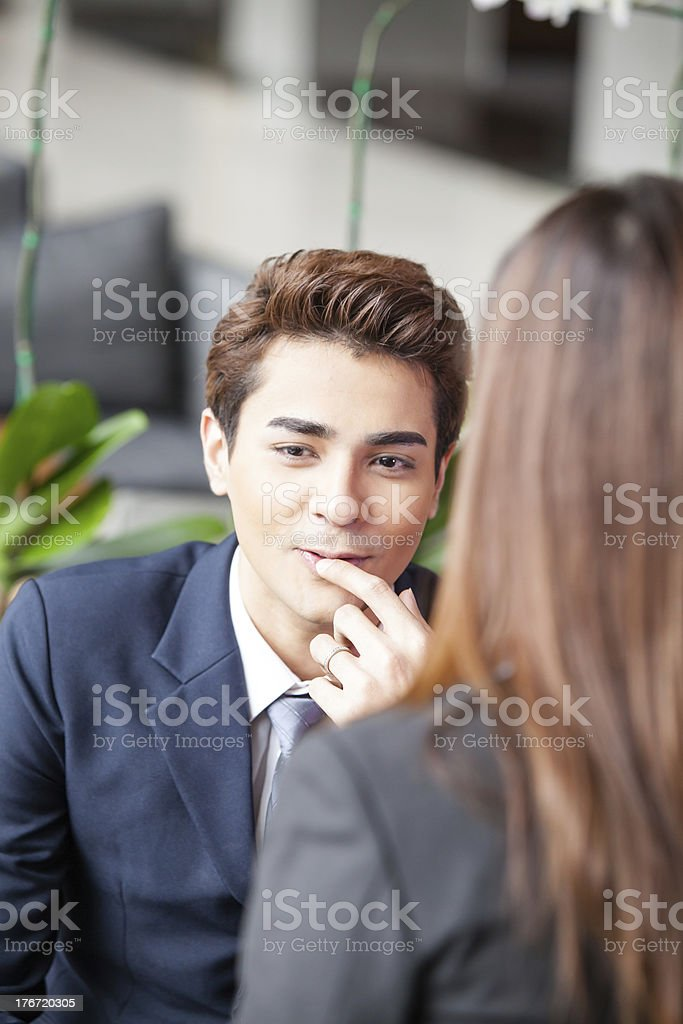 Meeting in lobby. royalty-free stock photo