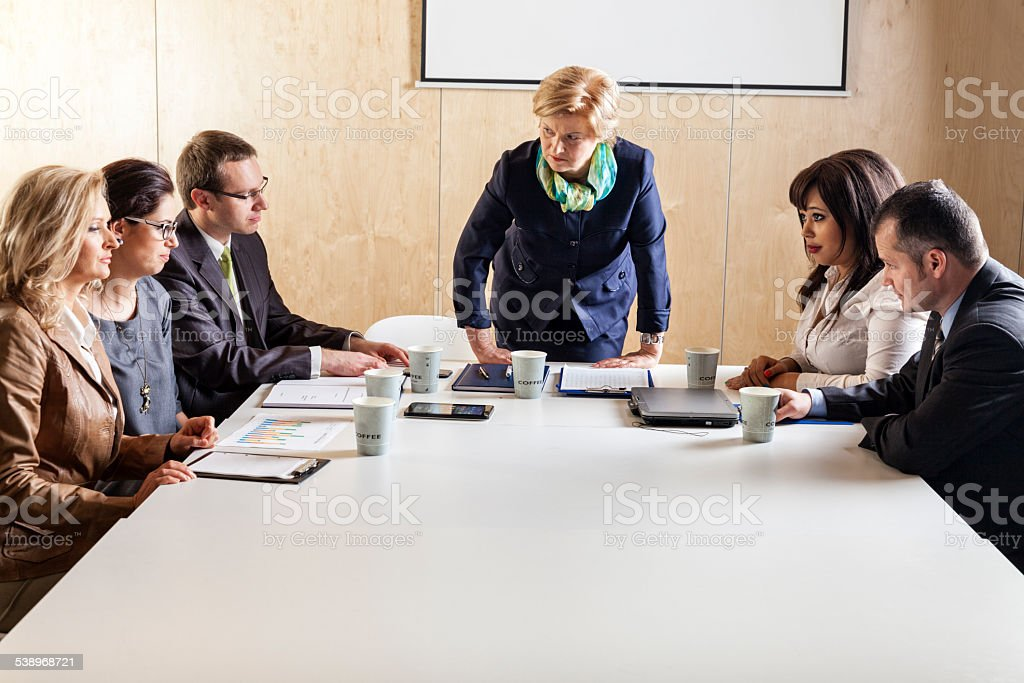 Meeting In Staff Room stock photo