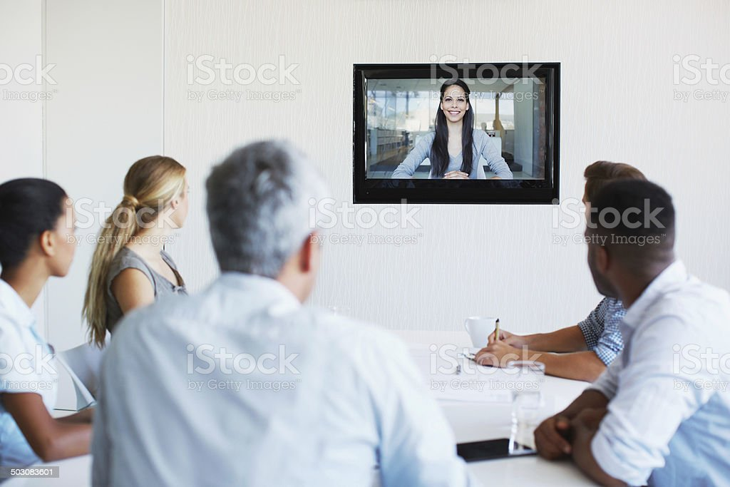 Meeting long distance stock photo