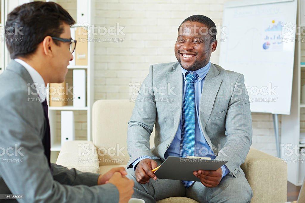 Meeting men stock photo