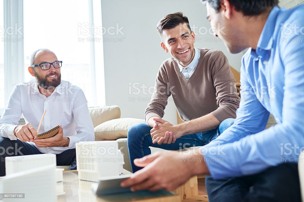 Meeting of architects stock photo