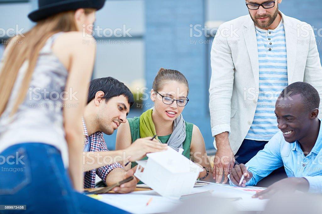 Meeting of designers stock photo