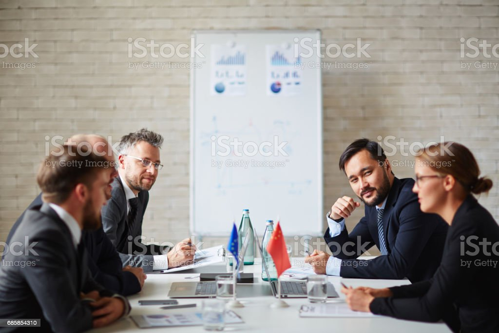 Meeting of leaders stock photo
