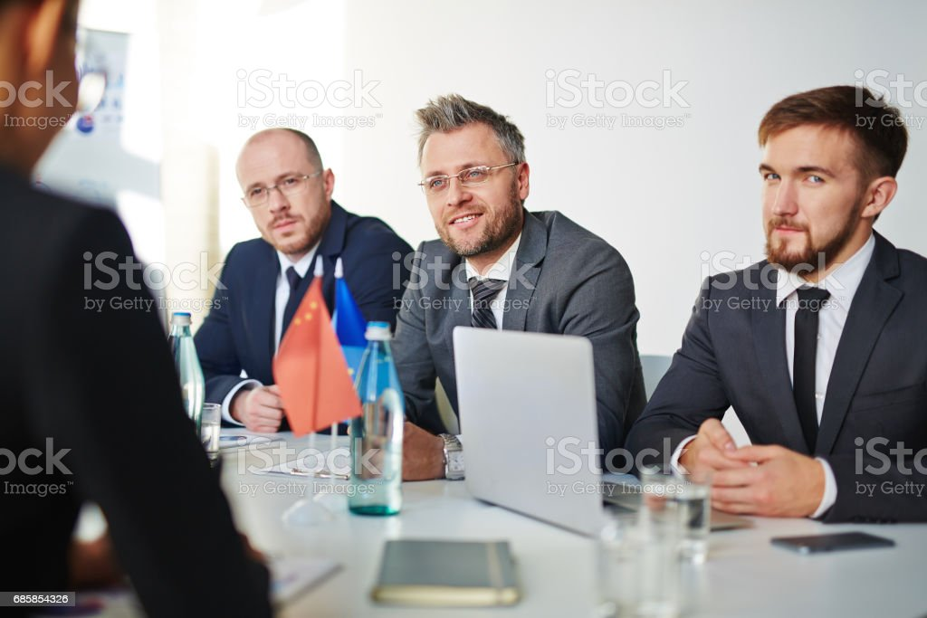Meeting of politicians stock photo