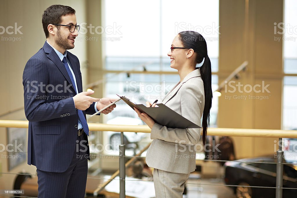 Meeting of two colleagues royalty-free stock photo