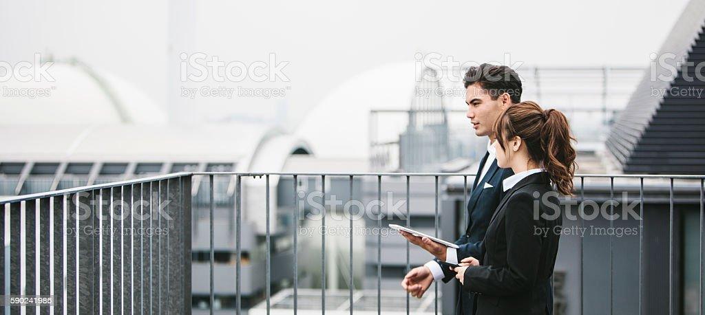 Meeting of Two Japanese Entrepreneurs stock photo