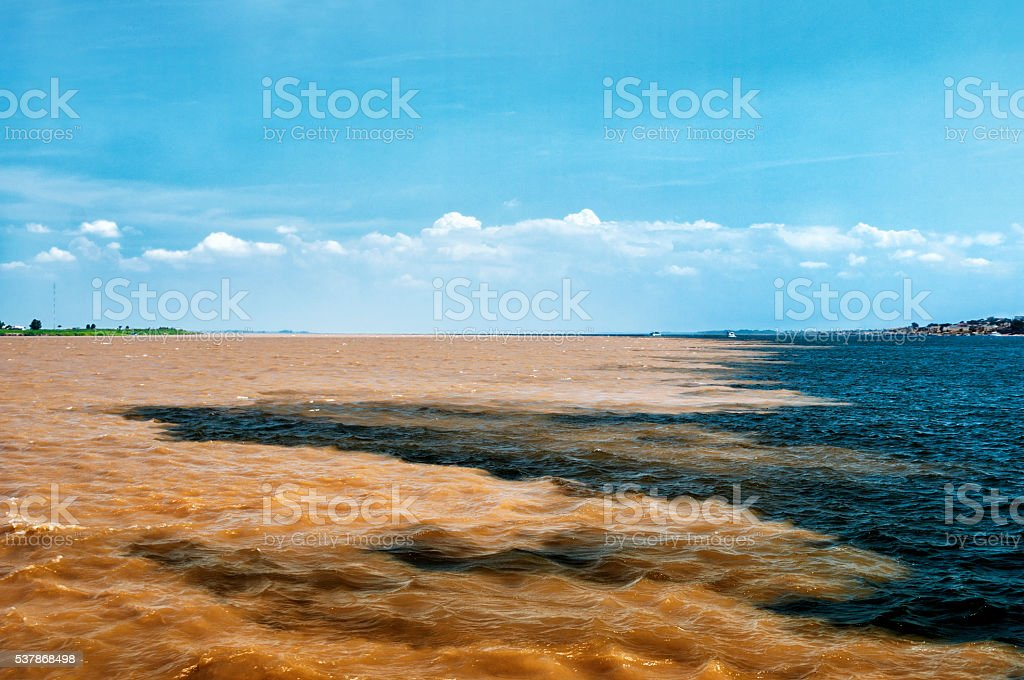 Meeting of Waters Rio Negro Meets Solimões and Forms Amazon stock photo