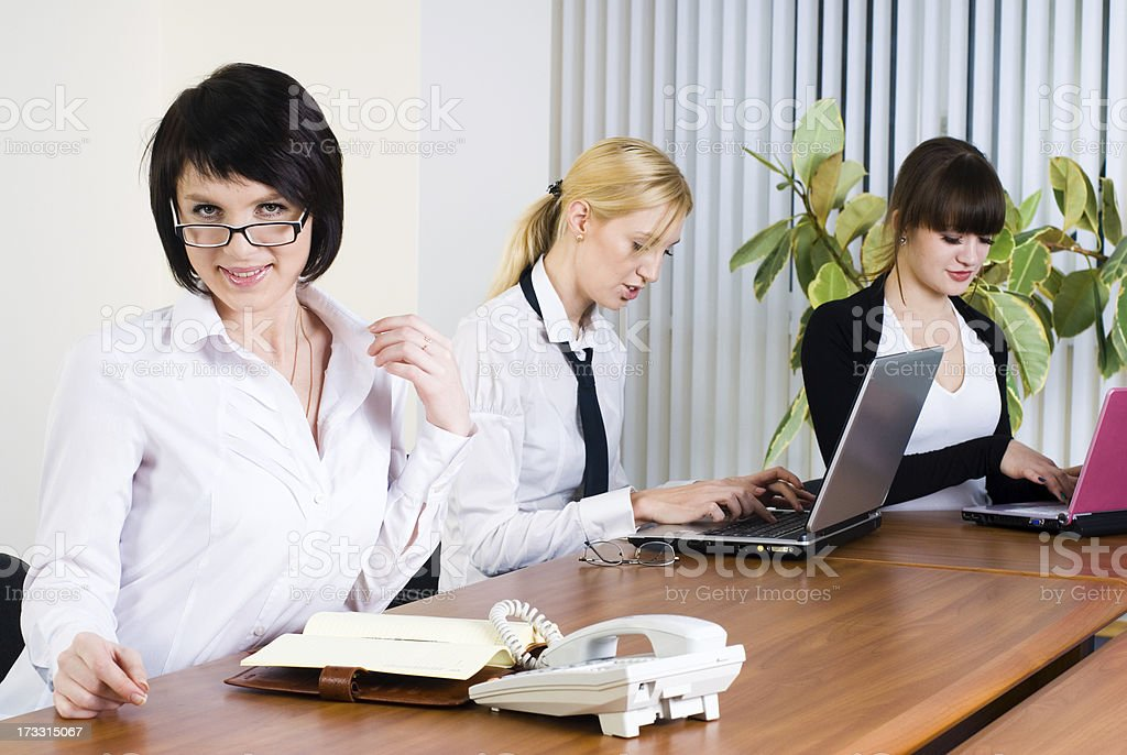 Meeting of young business ladies royalty-free stock photo
